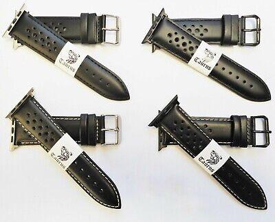 AU36.95 • Buy TAURUS BLACK GENUINE LEATHER RALLY PERFORATED WATCH BAND FOR APPLE WATCH 42mm