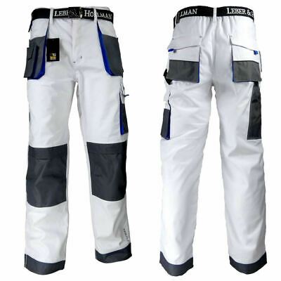 Mens Painters And Decorators Tuff Work Cargo White Trousers Knee Pads Pockets • 23.99£
