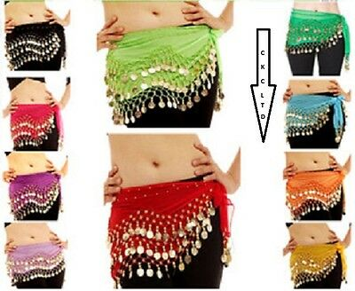 3 ROWS Belly Dance Costume Belt Skirt Hip Wrap Outfit Gold Coin Bead Scarf • 1.99£
