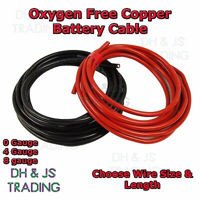 0 4 8 Gauge Battery Earth Power Cable 0AWG 4AWG 8AWG Oxygen Free Copper OFC Wire • 9.95£