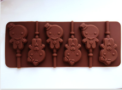 6 X Silicone Boys Girls Snowman Lollipop Chocolate Mould Ice Cube Jelly Lolly   • 3.99£