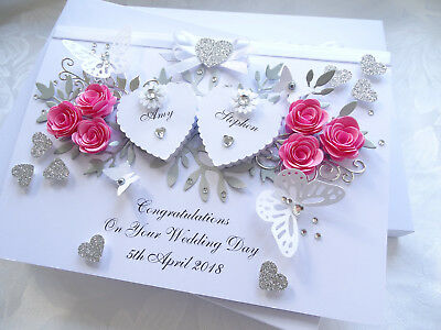 Handmade Personalised Card,Engagement, Any Anniversary, Wedding Day 3D Box  • 12.99£