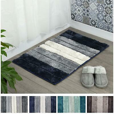 Microfibre Soft Tufted Bath Mat Shades Design Non-Slip Rug Bathroom Shower • 10£