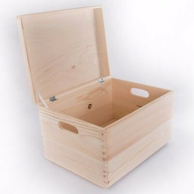Large Wooden Storage Box With Lid And Handles/Pinewood Toy Chest Keepsake Trunk  • 26.95£