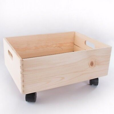 Large Wooden Stackable Storage Crate With Handles And Wheels / Toy Keepsake Box • 16.95£