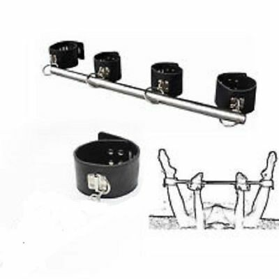Steel Hog Tie Bar Spreader Bar Adjustable Stocks Wrist Ankle Cuffs Restraints • 18.89£