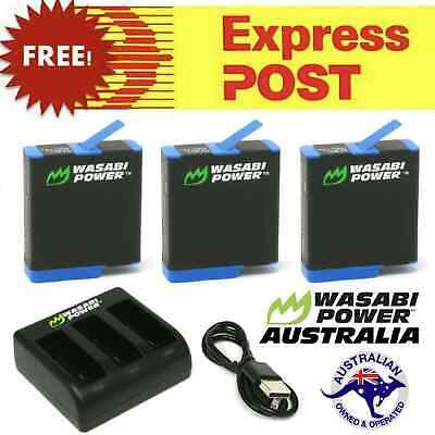 AU44.95 • Buy GoPro HERO8 9 7 6 5 4 3 3+ Battery Charger Dual/Triple Wasabi Hero Black Kit Set