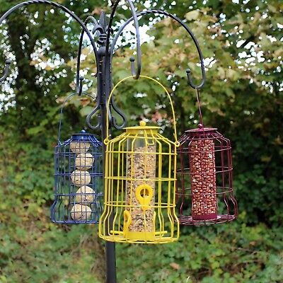 Wild Bird Feeder 3pcs Seed Nut Fat Ball Metal Hanging Squirrel Proof Guard • 18.99£
