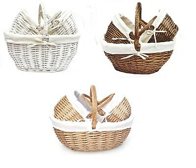 Strong Oval Wicker Easter Egg Shopping Picnic Hamper Storage Basket With Handle • 10.99£