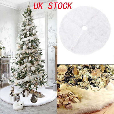 Long Snow Plush Christmas Tree Skirt Base Floor Mat Cover Xmas Party Decor • 7.99£