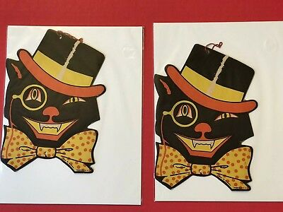 $ CDN82.66 • Buy Vintage Beistle Die Cut Cat In Top Hat,Bowtie Halloween Decoration Lot Of 4