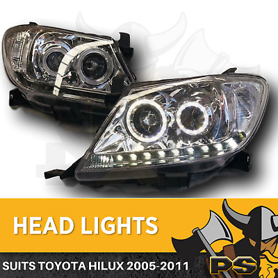 AU399 • Buy Angel Eye Projector Head Lights To Suit Toyota Hilux 2005-2011 LED Clear Halo