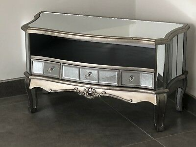 Argente French Mirrored Glass 3 Drawer TV Unit Stand Cabinet • 164.95£