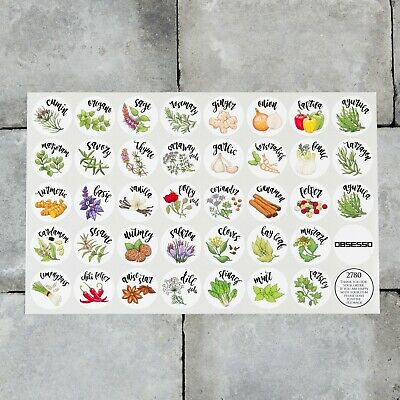£3.99 • Buy 38 X Spice / Herb Storage Jar Labels Stickers Decals - 30mm Or 40mm Roundels