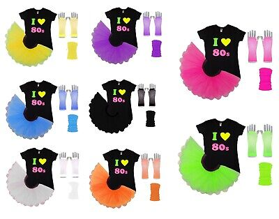 AU34.22 • Buy I Love 80s Neon Tutu Skirt 80's Fancy Dress Fluorescent Hen Party Beads UV