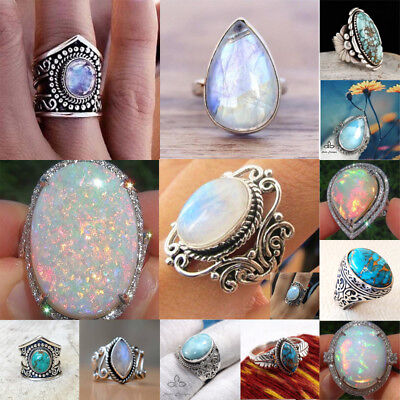 $2.53 • Buy 925 Silver Fire Opal Moonstone Turquoise CZ Wedding Engagement Men Party Ring