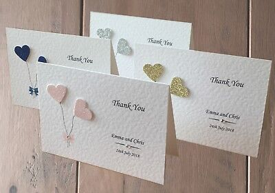 £5.50 • Buy 10 Personalised Wedding Thank You Cards - Blank Inside For Your Own Message