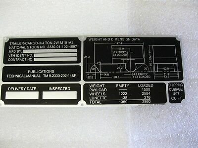 $9.95 • Buy Military Trailer M101A2 Data Plate NOS