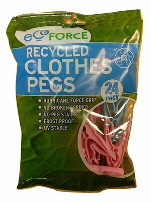 Ecoforce 48 Strong Hurricane Force Grip Clothes Pegs Made Of Recycled Plastic (2 • 6.23£