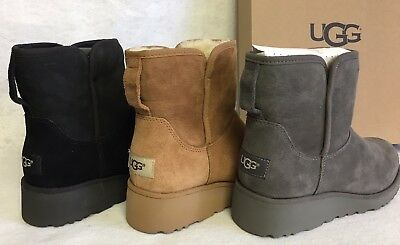 be2acc6e40bd Ugg Australia Kristin 1012497 Women s Black Chestnut Grey Sheepskin Wedge  Boots • 99.99