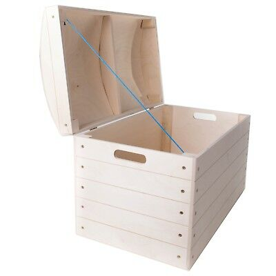 £46.95 • Buy Large Wooden Treasure Chest Trunk / Toys Tool Storage Box / Craft Untreated Wood