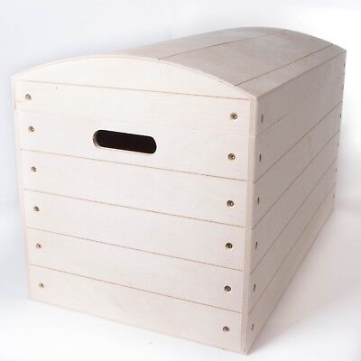 £54.95 • Buy Extra Large Wooden Treasure Chest Trunk / Toys Tool Storage Box / Untreated Wood