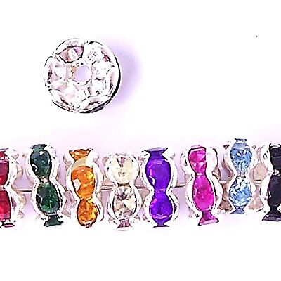 100 Rhinestone Rondelle Spacer Beads 6mm 8mm All Colours • 3.25£