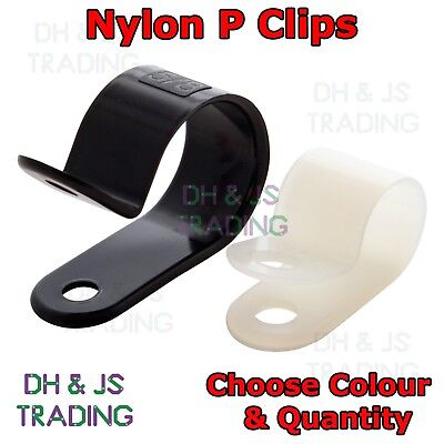 £1.99 • Buy Nylon P Clips - Fasteners For Cable Conduit Tubing Wire Sleeving Plastic P Clip