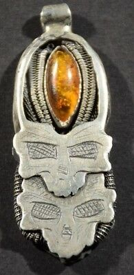 $189.99 • Buy Grateful Dead Sterling Silver Wire Wrapped Pendant Amber Handmade Charm