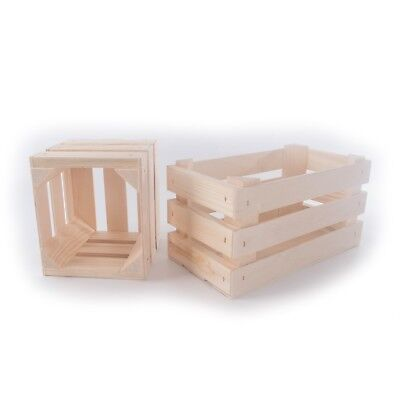 £7.95 • Buy Small Wooden Crates / Square Or Rectangular / Display Shelf Retail Box Craft DIY