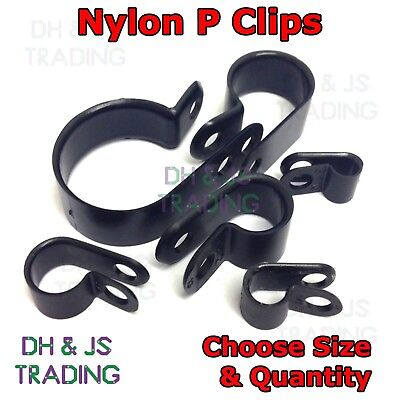 £2.35 • Buy Black Nylon P Clips Fasteners Cable Conduit Tubing Wire Sleeving Plastic P Clip