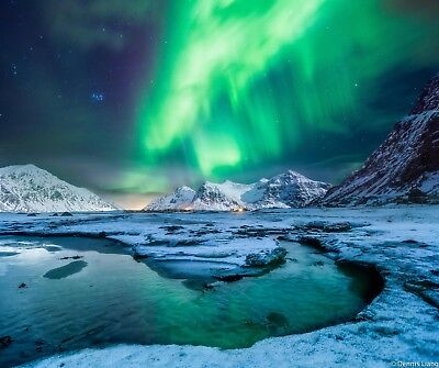 Northern Lights - Snow Mountain Landscape Large Poster / Canvas Picture Prints • 11.99£