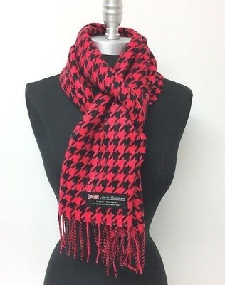 £5.66 • Buy New 100% CASHMERE SCARF MADE IN SCOTLAND HOUNDSTOOTH DESIGN Red Black SOFT WRAP