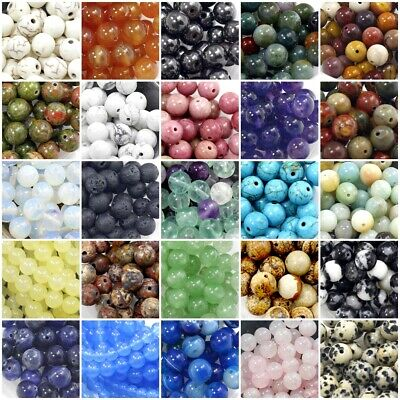 $8.98 • Buy Gemstone Round Beads 4mm 100pcs 6mm 8mm 10mm 12mm Natural Loose High Quality