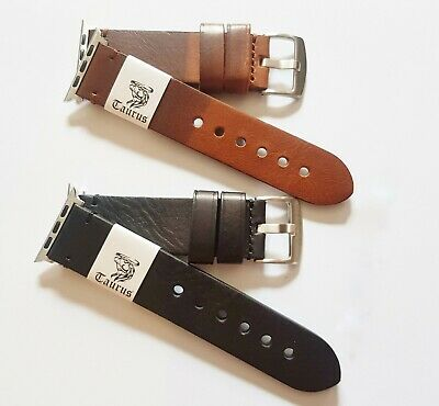 AU49.95 • Buy TAURUS PREMIUM CALF LEATHER WATCH BAND STRAP + ADAPTERS FOR APPLE WATCH 42mm