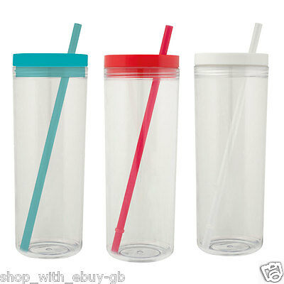 £3.99 • Buy PLASTIC TUMBLER & STRAW For Smoothies Juice Iced Tea Coffee BPA FREE TRAVEL CUP