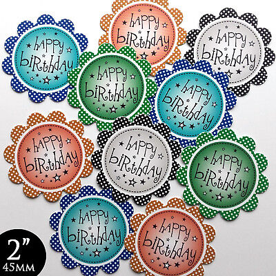 10 HAPPY BIRTHDAY 2  SENTIMENTS Male/Men's CARD MAKING TOPPERS HAND MADE (BMen) • 0.99£