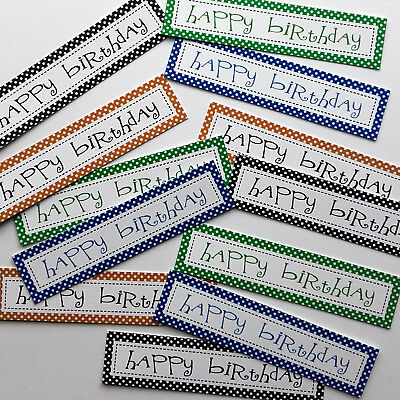 12 Birthday Sentiments/Banners Male/Men's Colours Hand Made Card Toppers (BMLOB) • 0.99£