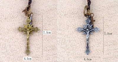 £4.74 • Buy Crucifix Alloy Leather Pendant Necklace Gold