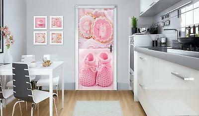 Door Mural Photo Sticker Non-woven 10445_VET Baby Shoes And Pink Cupcakes Food S • 28.90£