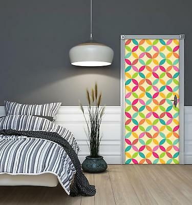 Door Mural Photo Sticker Non-woven 10693_VET Colourful Pattern Abstract Geometry • 28.90£