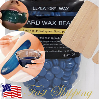 Hard Wax Beads Beans Blue Waxing Hair Removal Hot Film No Strip US SELLER • 4.97£