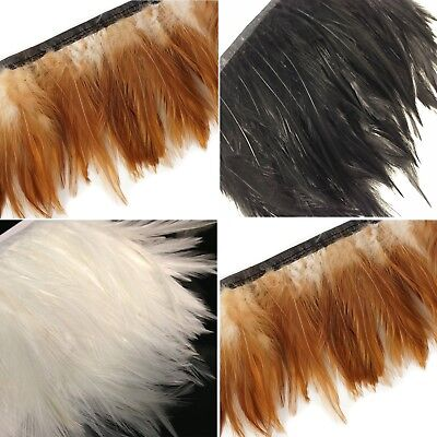 £6.99 • Buy 1 Metre - Rooster Neck Hackle Feather Fringe Trimming On Satin Ribbon