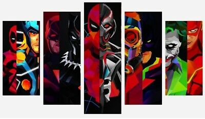 Marvel And Dc Comic Book Cartoon Characters 5 Split Panel Canvas Pictures 28x40  • 54.99£