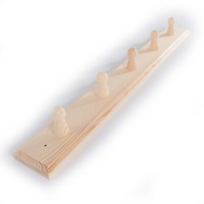 £9.99 • Buy 5 Pegs Wooden Coat Rack Hooks Holder / Wall Mounted Hanging Crafts Plain Wood