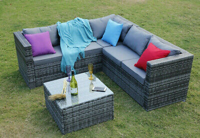 View Details Outdoor Rattan Garden Furniture 5 Seater Corner Sofa Patio Set With Cover Option • 389.99£