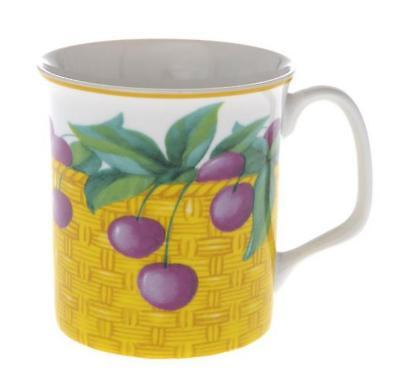 Buttercup Of London Crown Regal 10cm Fine Bone China Cherry Fruit Mug SET OF 4 • 24.97£