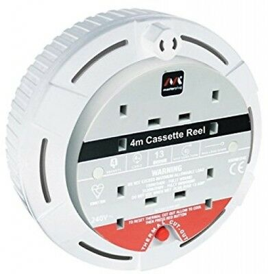 £15.61 • Buy Masterplug Cable Reel 4 M 4-Socket 13 Amp Small Cassette Extension Power Lead