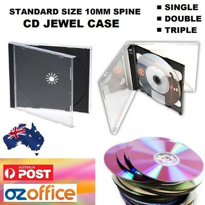 AU16.95 • Buy Australian Standard Size CD Jewel Cases Single Double Triple Clear Black Tray