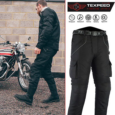 Motorbike Motorcycle Trousers Waterproof Cordura With CE Armour Protection Biker • 49.99£